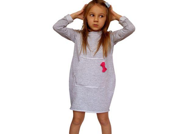 Bawełniana Dresowa Sukienka Bombka Kangurka - xdresse - Sukienki dla dziewczynek