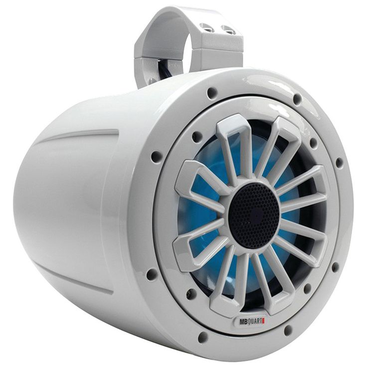"Mb Quart Nautic Series 2-way Wake Tower Speaker With Dove Gray Finish & Mounting Hardware (6.5"" 120 Watts With Led Illumination)"