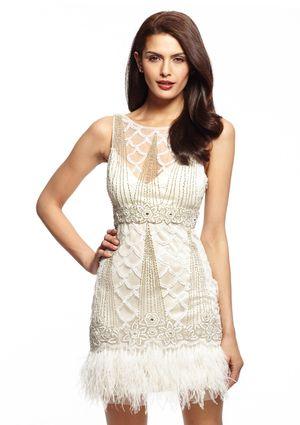 On ideeli: SUE WONG Neck Dress with Ostrich Feather Trim