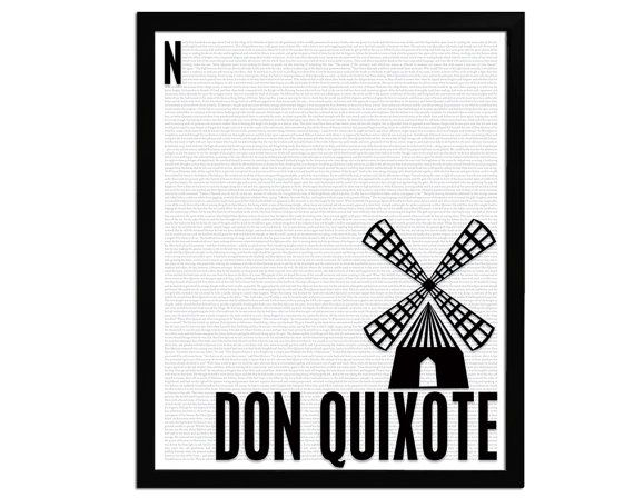 Don Quixote by Miguel de Cervantes Saavedra - Art Print - Poster for Book Lovers - 8 x 10 Wall Decor