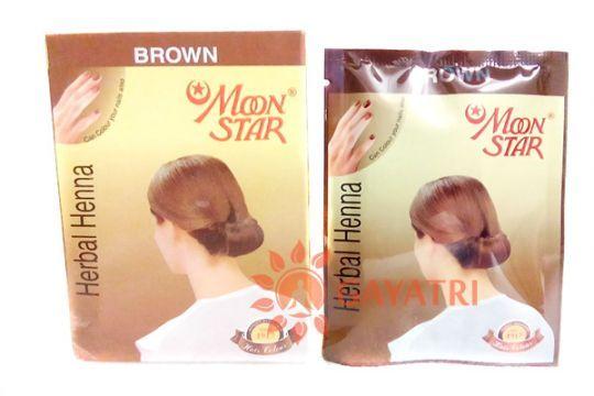"Травяная коричневая краска для волос и бровей, хна ""Мун стар"",1 пачка.Производитель ""Изук импекс"" /Herbal Henna Hair powder brown Moon Star/Izuk Impex/135/"