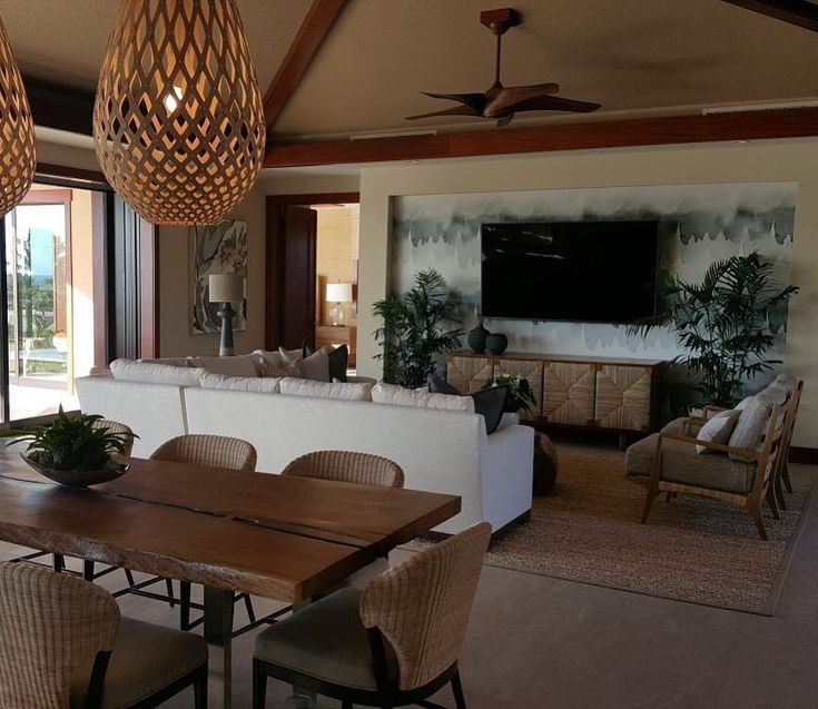 David Trubridge Baskets Lighting Fixtures In This Beautiful Kulanakauhale  Model Home Living Room In Hawaii.