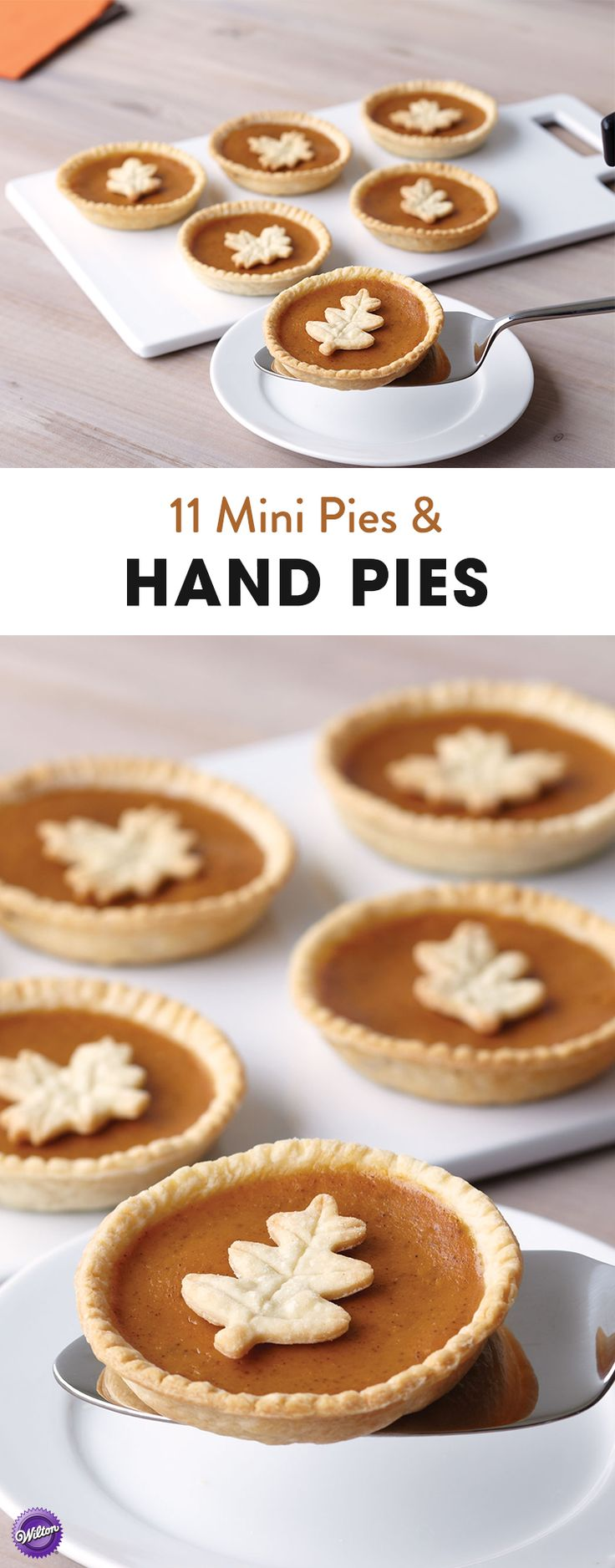 11 Mini Pie and Hand Pie Recipes - If you still want to satisfy your pie craving but don't feel like making a traditional pie, check out these 11 recipes for mini pies and hand pies including these cute mini pumpkin pies that are perfect for Thanksgiving!