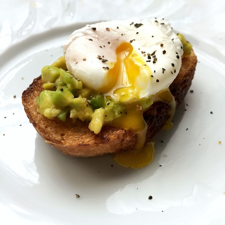 Avocado over toast & soft poached egg on top.