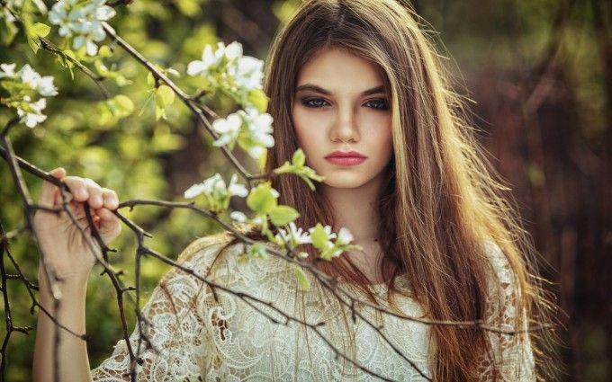 Beautiful Girl Holding Branch.Best Wallpapers For Desktop