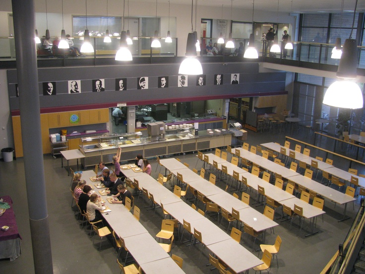 Dining hall, kitchen and upper gallery corridor at Kaakkuri School. Oulu.