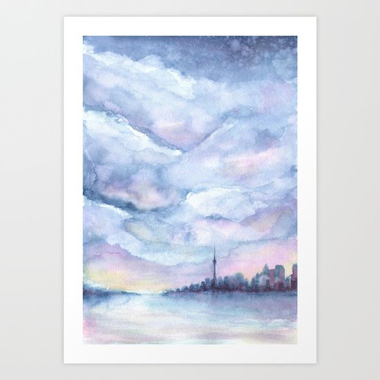 """Pastel Toronto by Ruth Oosterman  """"Once upon Toronto""""   Cityscape Sunset of CN tower Art"""