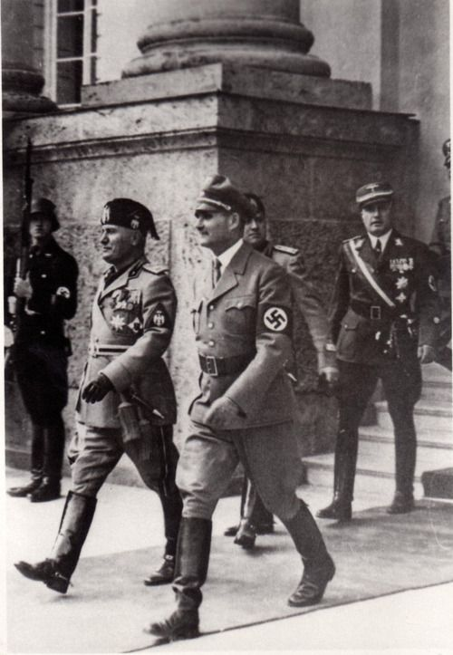 Benito Mussolini and Rudolf Hess
