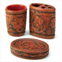 Richly detailed bath organizers bear the look of real tooled leather, lending a Western flair to your private space. Durable toothbrush holder, tumbler, and soap dish feature authentic stamped floral design and simulated saddle stitching; ideal fo...
