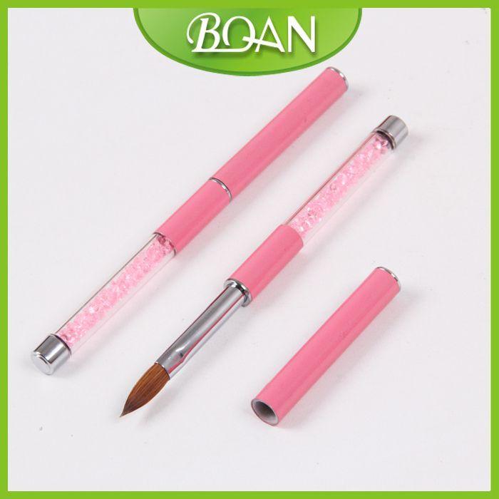 BQAN 2015 Best Seller Pink Rhinestone Handle Acrylic Nail Art Brush  8# 1piece