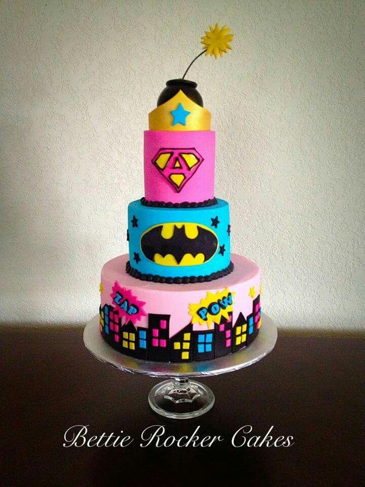 Bat girl Batman Cake for Girl - Her Pink Teal Super Girl Superhero  Bettierockercakes.blogspot.com  San Antonio, TX