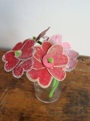 paper heart flower bouquet