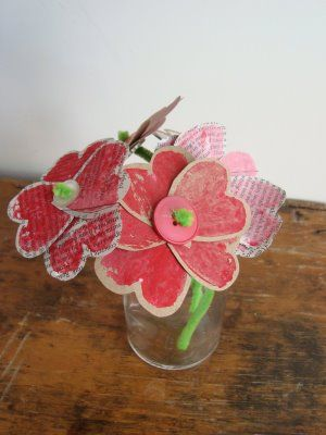 heart flower bouquets - very simple & kid friendly craft see: http://mayamade.blogspot.com/2009/02/heart-flower-bouquets.html