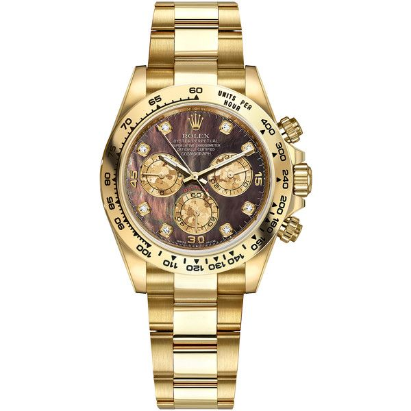 Rolex Cosmograph Daytona Yellow Gold 116508 Black MOP Gold Crystals... ($32,267) ❤ liked on Polyvore featuring men's fashion, men's jewelry, men's watches, engraved mens watches, mens diamond watches, mens gold watches, rolex mens watches and mens gold diamond watches