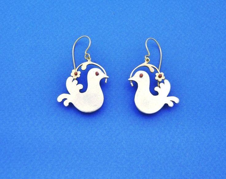 The Birds. Silver handmade earrings. Code:104   Jewelry Greece Handmade unique jewelry.