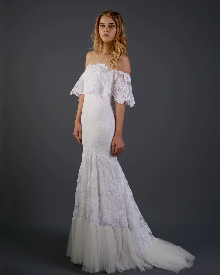 Off The Shoulder Lace Bohemian Wedding Dress With Scallop Cut Floral Detailing And Soft Tulle Hemline