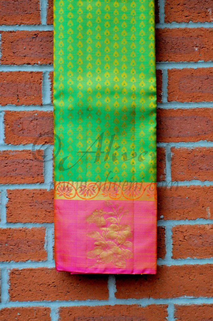 Green Kancheepuram Pattu Saree with Pink Floral Border