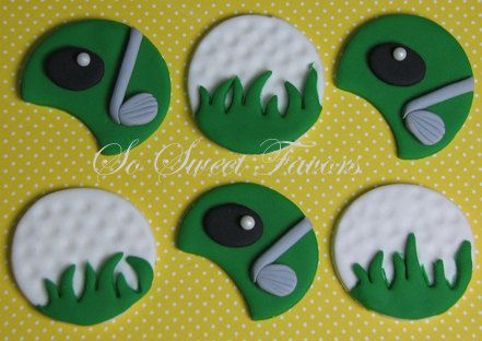 Fondant Edible Cupcake Toppers Golf Ball And Golf Court