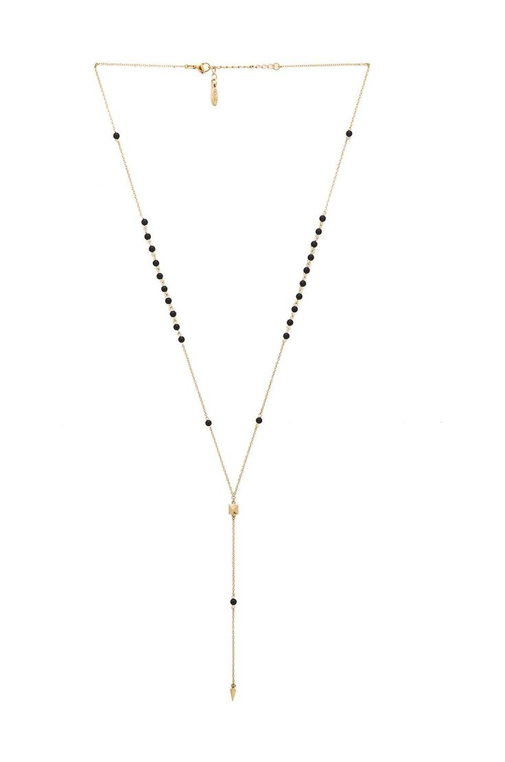 Ettika Beaded Lariat in Metallic Gold romDG