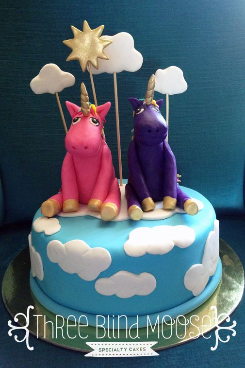 Joint Birthday Cake 2 Unicorns Pink And Purple On Clouds