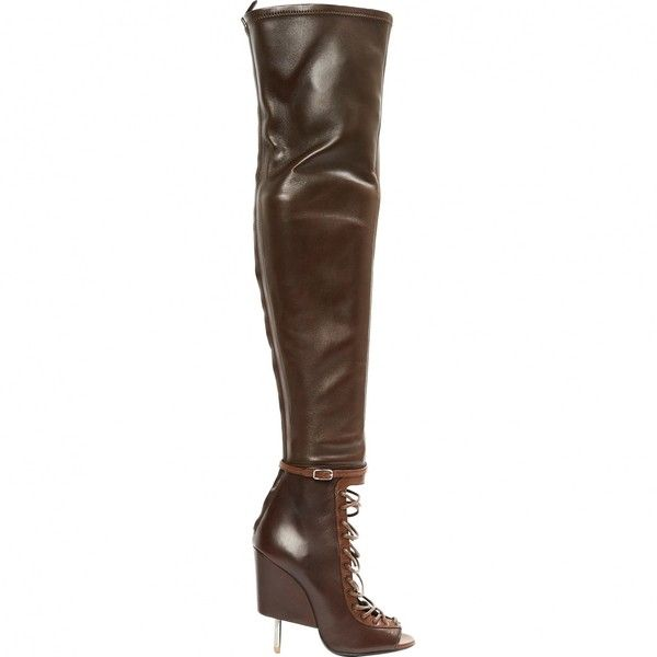 Pre-owned Givenchy Leather Boots ($1,515) ❤ liked on Polyvore featuring shoes, boots, brown, women shoes boots, brown shoes, genuine leather shoes, givenchy shoes, real leather boots and givenchy