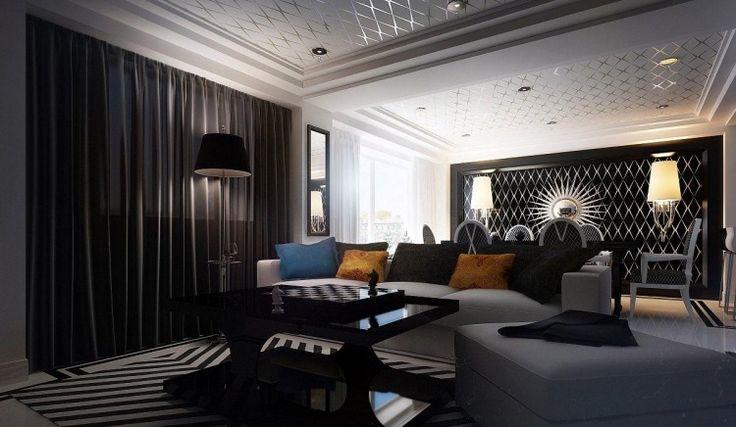 papier peint noir, rideaux assortis, canapé droit gris taupe et tapis rayé noir et blanc
