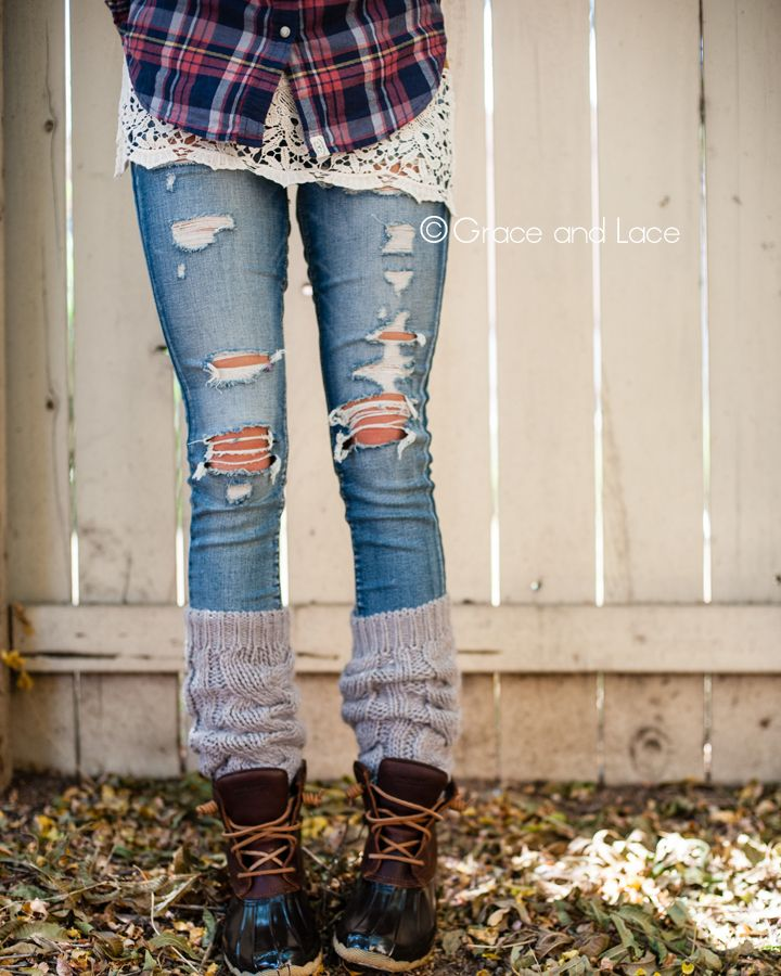I love everything about this. Plaid, distressed denim. Hint of lace with the tank extender and also giving the length, textured knit, and winter shoes.