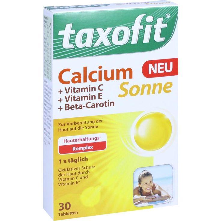 TAXOFIT Calcium Sonne Tabletten:   Packungsinhalt: 30 St Tabletten PZN: 11541489 Hersteller: MCM KLOSTERFRAU Vertr. GmbH Preis: 4,40 EUR…