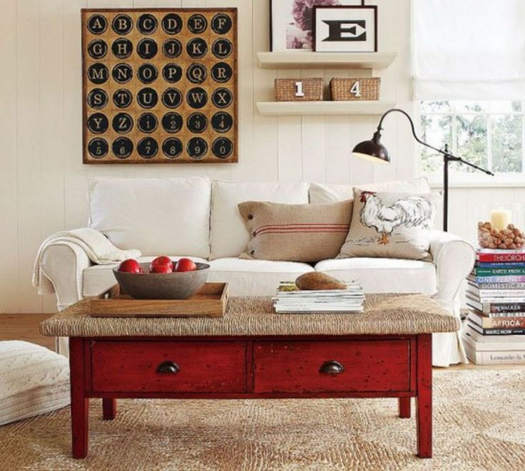 Elegant Living Room Ideas For Contemporary Home : Rooster Sofa Cushions Red  Coffee Table White Sofa White Wall Bars Living Room Ideas
