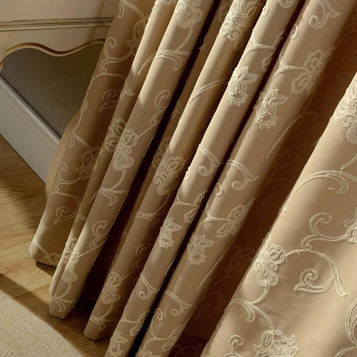 Rustic Curtains Floral Embroidery Beige Room Darkening Linen/Cotton
