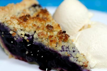 blueberry pie with almond crumble topping from love and olive oil
