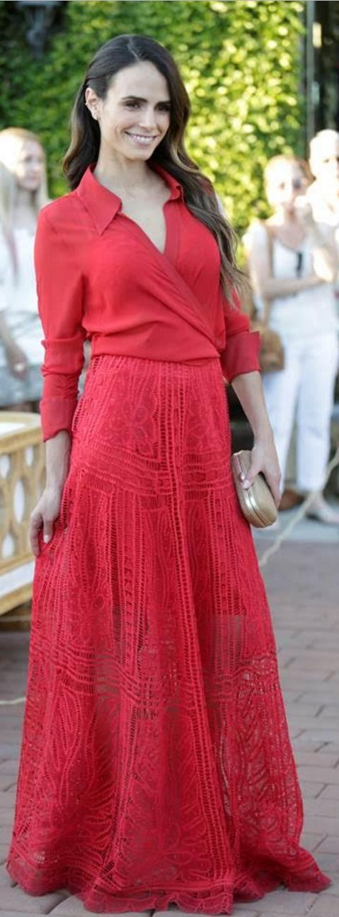 Who made Jordana Brewster's red wrap top and lace maxi skirt?                                                                                                                                                                                 More