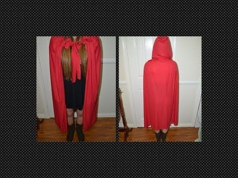 ▶ DIY ✿ HOODED RED CAPE FOR HALLOWEEN (NO-SEW & MEASUREMENTS INCLUDED) LAST MINUTE IDEA - YouTube