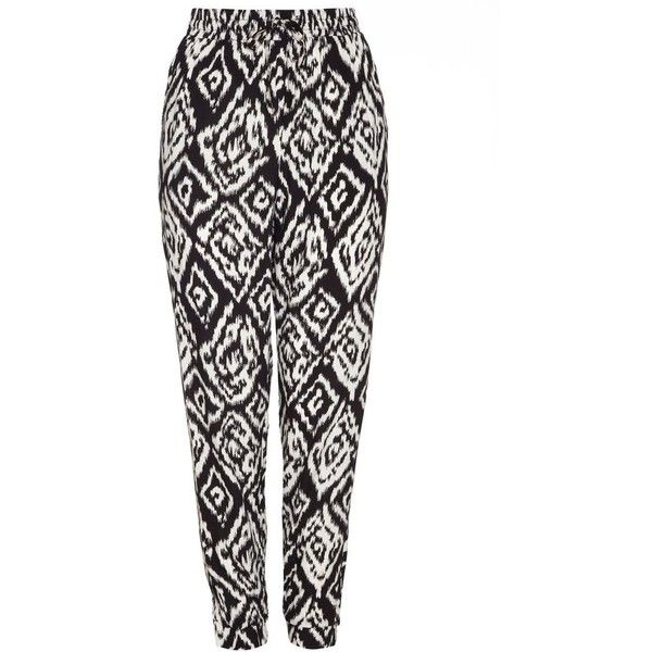 Mela Trousers (525 HNL) ❤ liked on Polyvore featuring pants, black, aztec print pants, mela loves london, patterned trousers, elastic waist pants and print pants