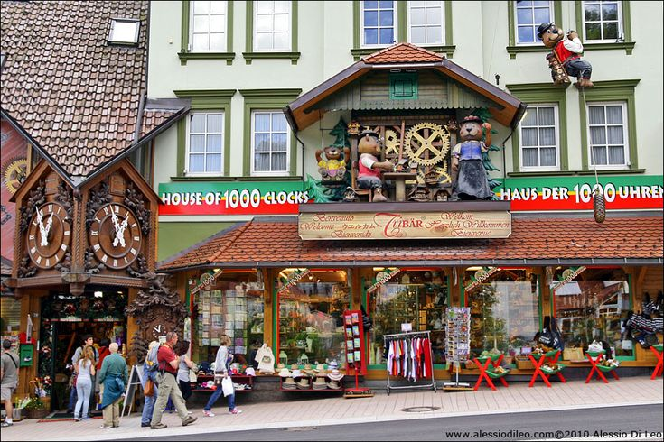 Triberg, Germany. Cuckoo clocks are huge here (I won't lie, I got one). If you're interested in clocks or wood-carving, you'll find a lot to interest you in the shops here.