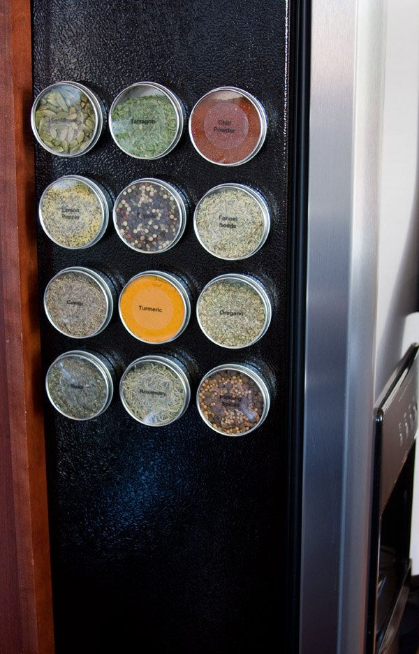 Magnetic spice tins - DIY spice rack or home organization - 16 food safe containers - includes labels, software. $33.00, via Etsy.