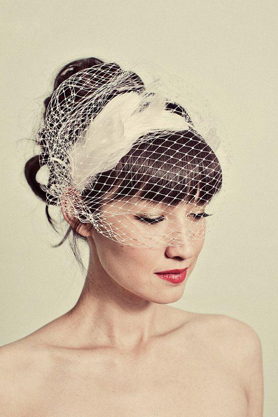 feather headband with birdcage veil