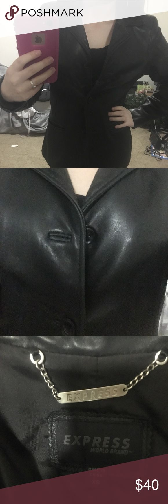 *EUC* EXPRESS Brand Leather Jacket *Also listed on Mercari*  Excellent Used Condition! Worn less than 10 times! Soft , flexible leather makes this jacket very comfortable to wear! Compliments most any look from day to night!  ***This item will NOT come from a smoke free or pet free home. I will clean each item as best I can before shipping, but I cannot guarantee that it will be free from any traces of cat hair or a smoky odor. Please do not give me a bad rating for this! Thanks in…