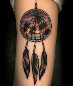 Dreamcatcher with palm trees tattoo!