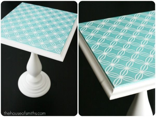 Great tutorial on how to make this cake stand from a candle holder and a piece of wood.