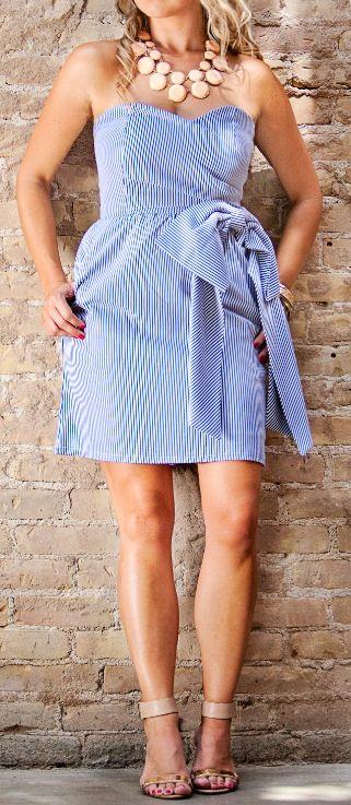 Seersucker Strapless Dress - KD Dress