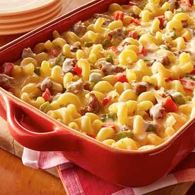 Italian sausage is added to macaroni and cheese to give it a taste of Tuscany.