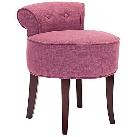 Seiling Tufted Rose Upholstered Vanity Stool