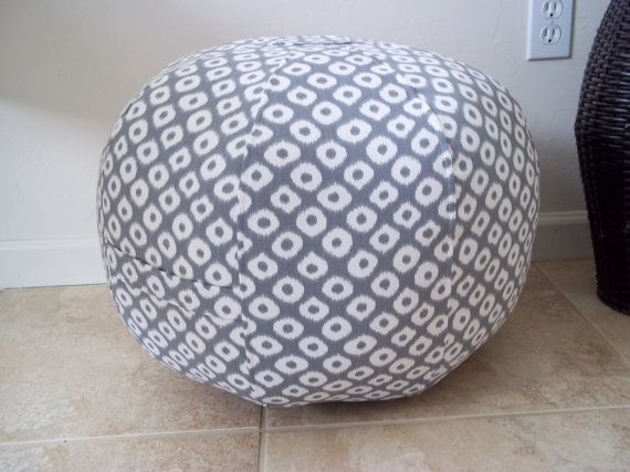 """Pouf Ottoman  made from Robert Allen Home Fabric by CallieZoey, $80.00 The pouf measures 18"""" wide by 15"""" high, it has a zipper for stuffing and un-stuffing. Can be spot cleaned, or hand washed cold water, and line dried."""