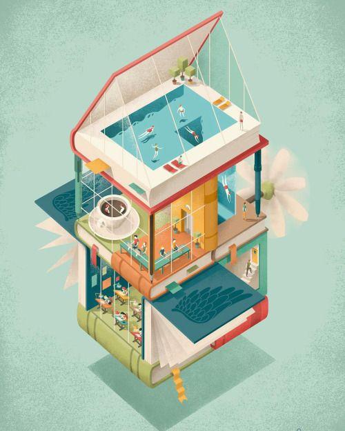 Un edificio lleno de divertidos lectores y lecturas: la biblioteca, en verano…