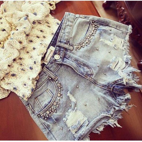 Short Jeans Desfiado Pérolas