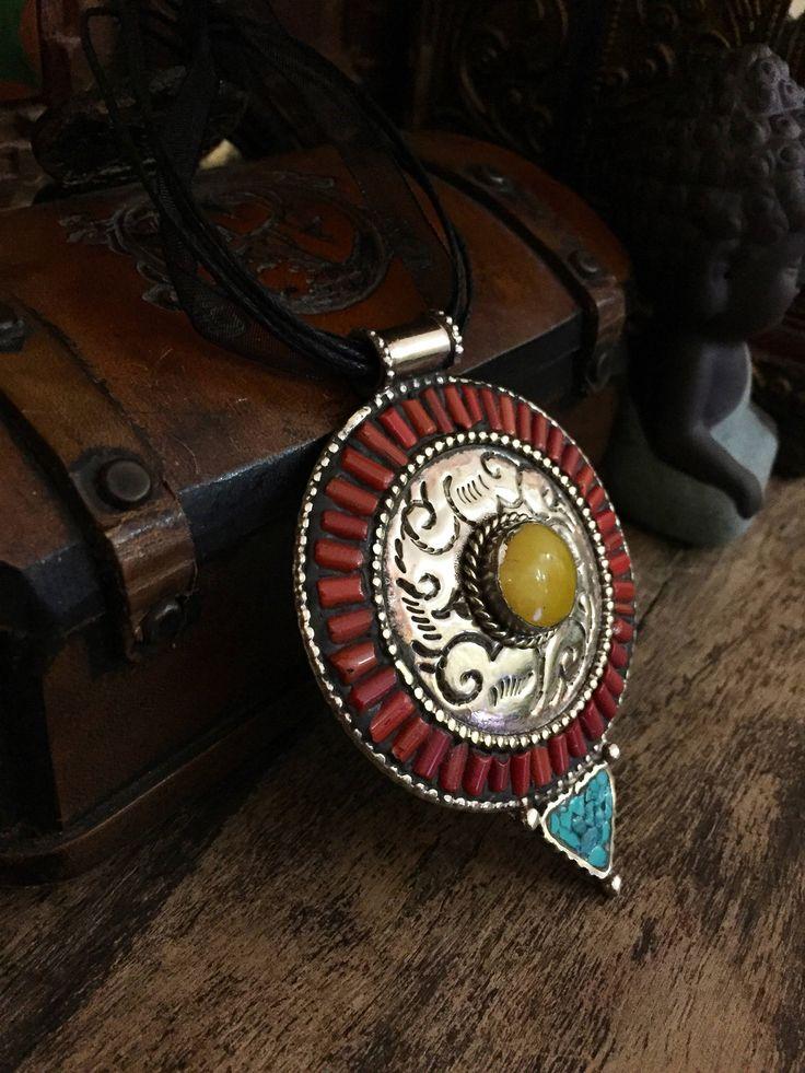 Tibetan jewelry  - Tibetan necklace - Large Tibetan pendant -large artisan pendant -ethnic necklace-  turquoise stone and coral mosaic shavi by Omanie on Etsy