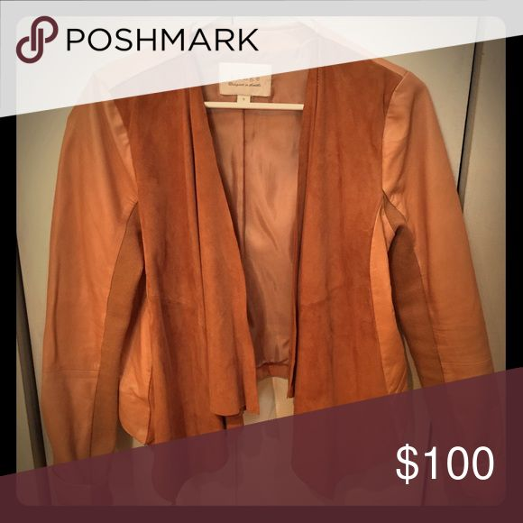 Hinge Waterfall Leather Jacket Genuine lamb skin waterfall leather jacket. Soft leather that's perfect for layering! Easy to pair with boots and scarf. In rich luggage color! Nordstrom Other