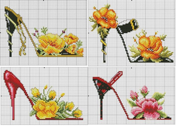 0 point de croix chaussures fleurs - cross stitch flowers shoes part 1