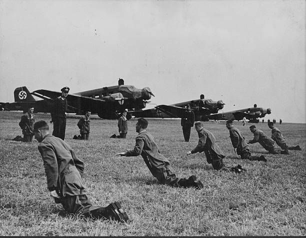 Ground exercises undertaken by a German Parachute Regiment in anticipation for World War Two, Germany, circa 1939-1945. Pin by Paolo Marzioli